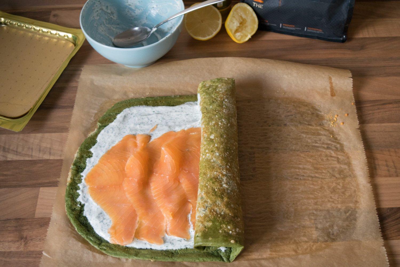 Herzhafte Protein Lachs-Frischkäse-Wraps